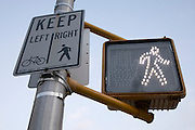 American pedestrian and bicycle traffic light and sign