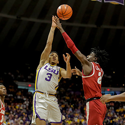 Jan 8, 2019; Baton Rouge, LA, USA; LSU Tigers guard Tremont Waters (3) is defended by Alabama Crimson Tide guard Kira Lewis Jr. (2) during the second half at the Maravich Assembly Center. Mandatory Credit: Derick E. Hingle-USA TODAY Sports