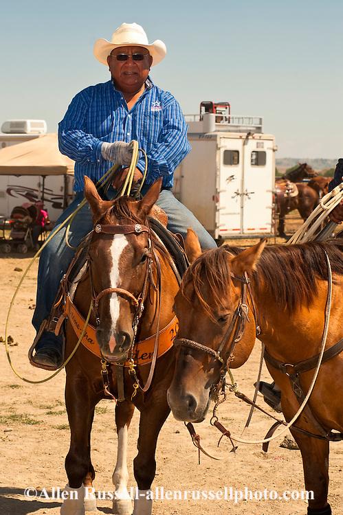Team Roper, Crow Fair, Indian Rodeo, Montana, Lee Tom