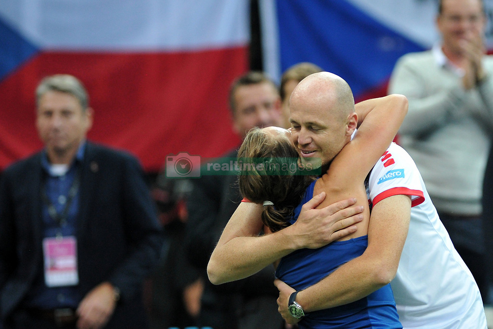 November 10, 2018 - Prague, Czech Republic - Barbora Strycova with coach Petr Pala of the Czech Republic celebrate after winnig game during the 2018 Fed Cup Final between the Czech Republic and the United States of America in Prague in the Czech Republic. (Credit Image: © Slavek Ruta/ZUMA Wire)