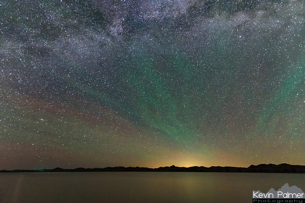 The airglow was very bright this night in the skies above Healy Reservoir.
