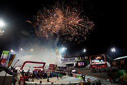 """Firework during flower ceremony after the FIS Alpine Ski World Cup 2016/17 Men's Slalom race named """"Snow Queen Trophy 2017"""", on January 5, 2017 in Course Crveni Spust at Sljeme hill, Zagreb, Croatia. Photo by Ziga Zupan / Sportida"""