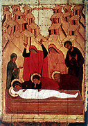 The Entombment: 15th century Russian icon.