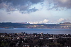 Fife and Edinburgh as seen from the Edinburgh Castle Esplanade.