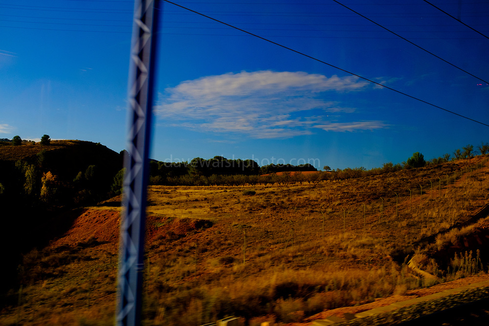 View from high speed AVE train between Barcelona Sants and Madrid Atoche stations.