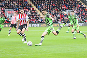 Forest Green Rovers Aaron Collins(10) shoots at goal during the EFL Sky Bet League 2 match between Exeter City and Forest Green Rovers at St James' Park, Exeter, England on 12 October 2019.
