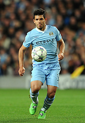 14.09.2011, City of Manchester Stadium, Manchester, ENG, UEFA CL, Manchester City FC v SSC Napoli, im Bild Manchester City's Sergio Aguero in action during the UEFA Champions League Group A match at the City of Manchester Stadium. . EXPA Pictures © 2011, PhotoCredit: EXPA/ Propaganda Photo/ Chris Brunskill +++++ ATTENTION - OUT OF ENGLAND/GBR+++++