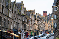 View of historic Cockburn Street in Edinburgh Old Town, Scotland, UK