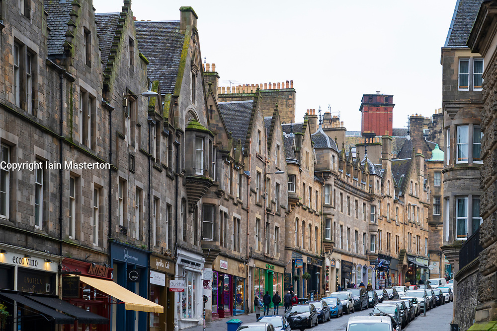 View of historic Cockburn Street in Edinburgh Old Town, Scotland, UK