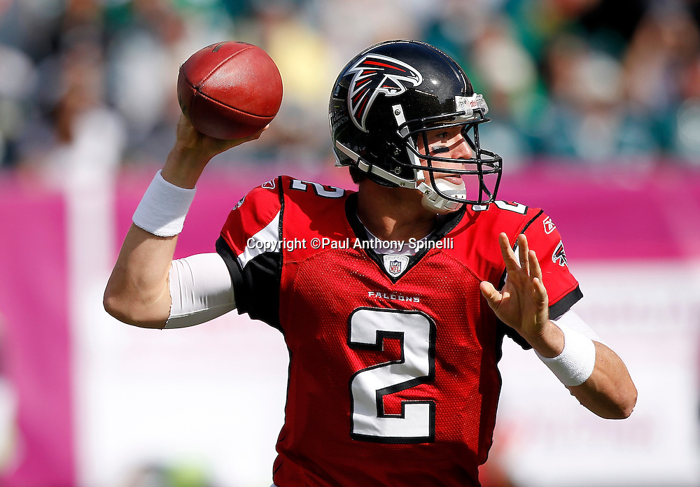 Atlanta Falcons quarterback Matt Ryan (2) throws a first quarter pass during the NFL week 6 football game against the Philadelphia Eagles on Sunday, October 17, 2010 in Philadelphia, Pennsylvania. The Eagles won the game 31-17. (©Paul Anthony Spinelli)