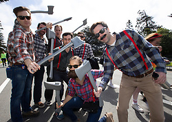 A group of lumberjacks pose for a photo at the 107th running of the Bay to Breakers, Sunday, May 20, 2018, in San Francisco. (Photo by D. Ross Cameron)