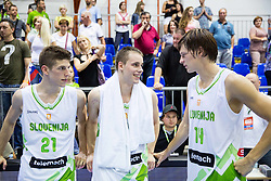 Aleksej Nikolic of Slovenia, Klemen Prepelic of Slovenia and Jaka Klobucar of Slovenia after the friendly basketball match between National teams of Slovenia and Ukraine at day 3 of Adecco Cup 2014, on July 26, 2014 in Rogaska Slatina, Slovenia. Photo by Vid Ponikvar / Sportida.com
