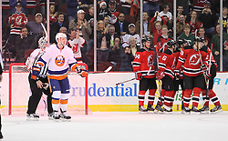 Mar 8; Newark, NJ, USA; The New Jersey Devils celebrate a goal by New Jersey Devils left wing Ilya Kovalchuk (17) during the first period at the Prudential Center.