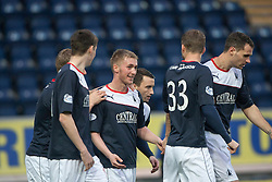 Falkirk's Craig Sibbald cele scoring their first goal.<br /> Half time : Falkirk 2 v 0 Raith Rovers, Scottish Championship game at The Falkirk Stadium.