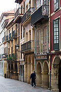Traditional architecture in Calle La Ferreria in Aviles, Asturias, Northern Spain