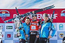 20.01.2019, Loipe Obertilliach, AUT, 45. Dolomitenlauf, Freestyle, im Bild v.l.: 2. Platz Gerard Agnellet (FRA, 42km), 1. Platz Toni Levers (SUI, 42km), 3. Platz Loic Guigonnet (FRA, 42km) // during the 45th Dolomitenlauf Freestyle race at Obertilliach, Austria on 2019/01/20, EXPA Pictures © 2019 PhotoCredit: EXPA/ Dominik Angerer