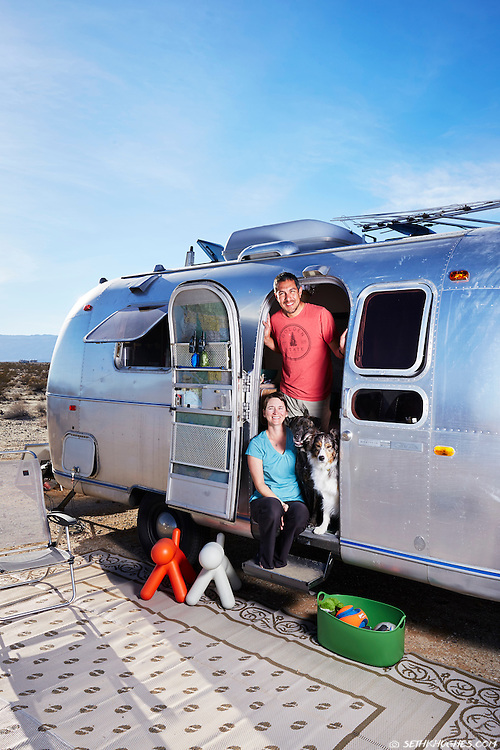 Full-time Airstreamers Mike and Kelly settle into their boondocking campsite in the Anza Borrego desert of California.