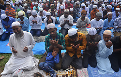 June 16, 2018 - Dimapur, Nagaland, India - Indian Muslim offer prayer during Eid-al-Fitr in Dimapur, India north eastern state of Nagaland on Saturday, June 16, 2018.Muslims around the world celebrate Eid-al-Fitr, which mark the end of the Holy fasting month of Ramadan. (Credit Image: © Caisii Mao/NurPhoto via ZUMA Press)