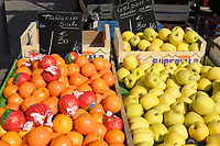 Apples and Oranges for sale in a french market