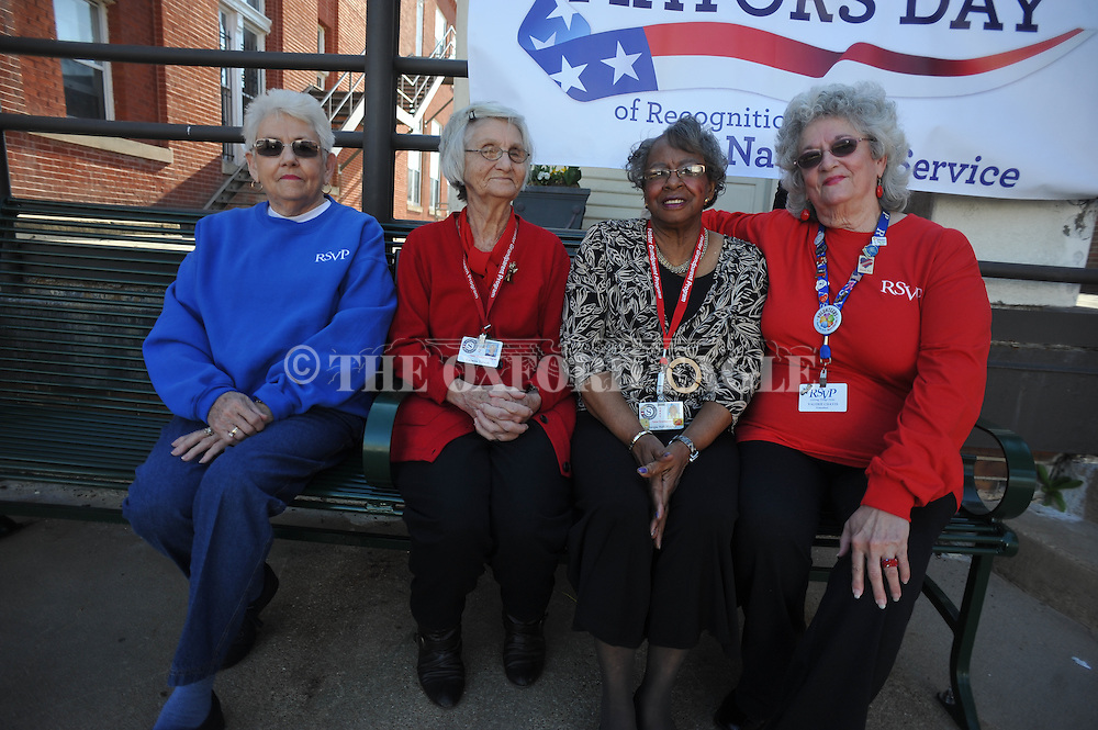 Volunteers (from l.) Joan Vick, Carmita Tidwell, Margie Nell Mathis, and Valerie Chavis were among those recognized by Mayor Pat Patterson, at City Hall in Oxford, Miss. on Tuesday, April 1, 2014.