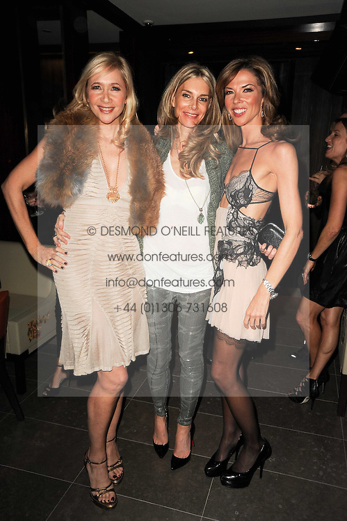 Left to right, TANIA BRYER, YASMIN LE BON and HEATHER KERZNER at a dinner to celebrate the work of Malaria No More UK held at Hakkasan Mayfair, 17 Bruton Street, London W1 on 16th November 2010.