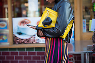 Yellow Bag with JW Anderson Elephant Charm and Striped Skirt, Outside JW Anderson FW2017