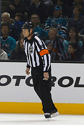 Jan 31, 2012; San Jose, CA, USA; NHL referee Mike Leggo (3) before a face off between the San Jose Sharks and the Columbus Blue Jackets during the first period at HP Pavilion. San Jose defeated Columbus 6-0. Mandatory Credit: Jason O. Watson-US PRESSWIRE