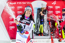 "Second placed Wendy Holdener (SUI), winner Mikaela Shiffrin (USA) and third placed Frida Hansdotter (SWE) celebrate at Trophy ceremony after 2nd Run of FIS Alpine Ski World Cup 2017/18 Ladies' Slalom race named ""Snow Queen Trophy 2018"", on January 3, 2018 in Course Crveni Spust at Sljeme hill, Zagreb, Croatia. Photo by Vid Ponikvar / Sportida"
