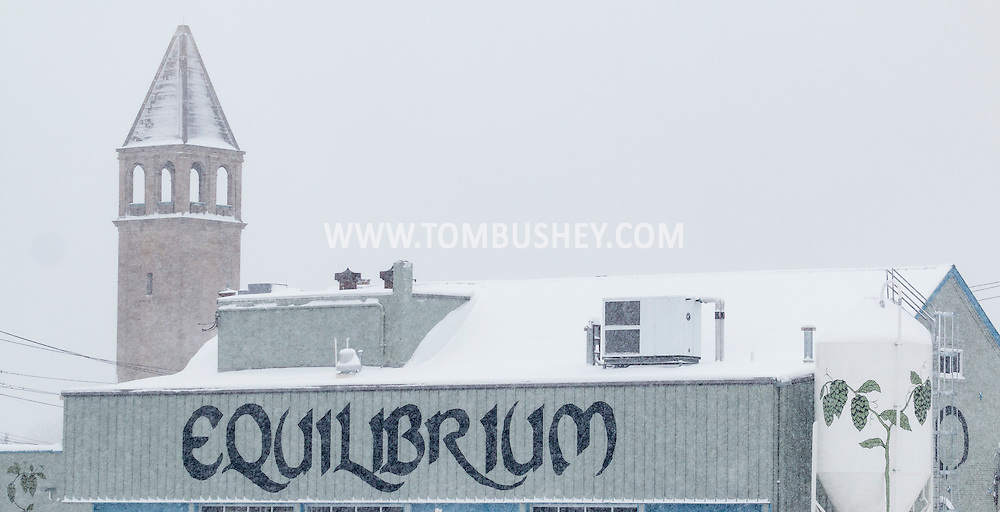 Middletown, New York - A view of Equilibrium Brewery during a snowstorm on Feb. 9, 2017.