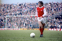 Kenny Samson, football, Arsenal FC, London, England, UK, photographed 27th February 1982 in a match against Swansea. 198202290022a<br /> <br /> Copyright Image from Victor Patterson, 54 Dorchester Park, Belfast, UK, BT9 6RJ<br /> <br /> t1: +44 28 9066 1296 (from Rep of Ireland 048 9066 1296)<br /> t2: +44 28 9002 2446 (from Rep of Ireland 048 9002 2446)<br /> m: +44 7802 353836<br /> <br /> e1: victorpatterson@me.com<br /> e2: victorpatterson@gmail.com<br /> <br /> The use of any of my copyright images is subject to my Terms & Conditions.<br /> <br /> It is IMPORTANT that you familiarise yourself with them. They are available at my website, victorpatterson.com.<br /> <br /> None of my copyright images may be used on the Internet unless they are visibly watermarked, i.e. © Victor Patterson within the body of the image. My metadata, denoting my copyright must NOT be deleted. <br /> <br /> Web use is extra at currently recommended NUJ rates. Maximum permitted web size is<br />  400kb. <br /> <br /> Images must not be passed on to a third party - they are for the use of the authorised recipient only.