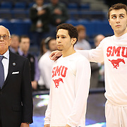 Larry Brown, the SMU during the National Anthem before the Temple Vs SMU Semi Final game at the American Athletic Conference Men's College Basketball Championships 2015 at the XL Center, Hartford, Connecticut, USA. 14th March 2015. Photo Tim Clayton