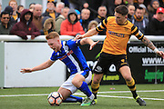 Callum Camps fouled by Jack Paxman during the The FA Cup match between Maidstone United and Rochdale at the Gallagher Stadium, Maidstone, United Kingdom on 6 November 2016. Photo by Daniel Youngs.