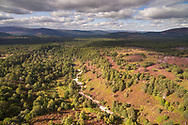 An aerial photograph overlooking Allt Druidh and rothiemurchus forest.  Cairngorms National Park, Scotland.
