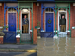 © Licensed to London News Pictures. 27/12/2016. York, UK. Side by side comparison pictures showing REG TODD stood in the doorway of his home on Huntington Road in York as it is today, December 27, 2016 (Left), and exactly a year ago today, on December 27, 2015 (Right) during the middle of severe flooding. Homes and businesses were destroyed in the flooding over the Christmas period last year. Photo credit: Ben Cawthra/LNP