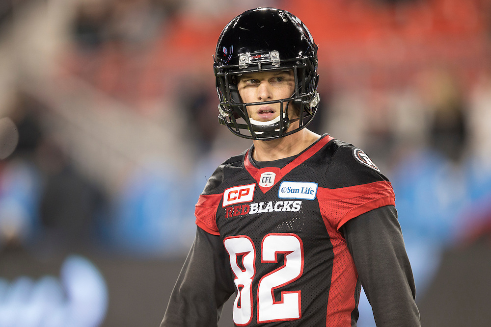 Ottawa Redblacks receiver Greg Ellingson warms up before the 104th Grey Cup against the Calgary Stampeders  in Toronto Ontario, Sunday,  November 27, 2016.  (CFL PHOTO - Geoff Robins)