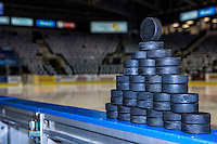 KELOWNA, CANADA - MARCH 25: Puck pyramid on March 25, 2016 at Prospera Place in Kelowna, British Columbia, Canada.  (Photo by Marissa Baecker/Shoot the Breeze)  *** Local Caption ***