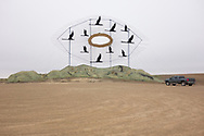 """Geese in Flight,"" one of the metal sculptures on the Enchanted Highway in western North Dakota."