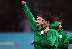 Armin Bacinovic (8)  of Slovenia and Vito Plut (9)  of Slovenia celebrate during Friendly match between U-21 National teams of Slovenia and Romania, on February 11, 2009, in Nova Gorica, Slovenia. (Photo by Vid Ponikvar / Sportida)