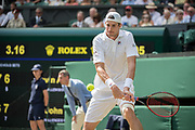 13 July 2018.  The Wimbledon Tennis Championships 2018 held at The All England Lawn Tennis and Croquet Club, London, England, UK.  <br /> <br /> Kevin Anderson RSA) [8] vs John Isner (USA) [9] on Centre Court.  Pictured:- John Isner.