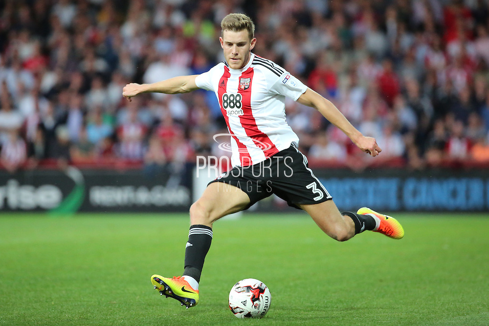 Brentford defender Callum Elder (3) dribbling during the EFL Sky Bet Championship match between Brentford and Nottingham Forest at Griffin Park, London, England on 16 August 2016. Photo by Matthew Redman.