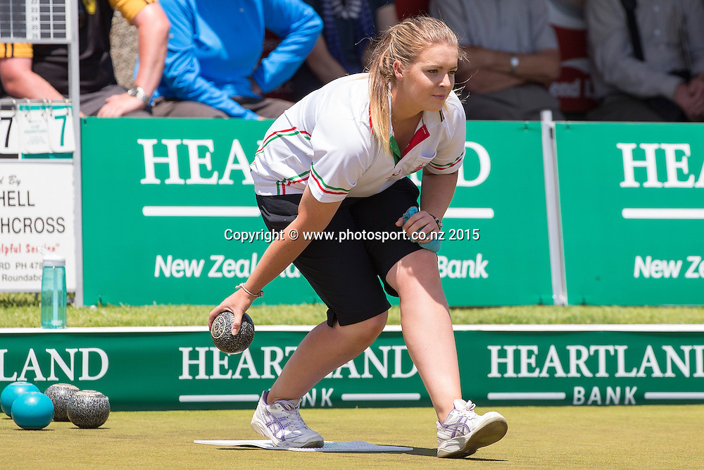 Burnside`s Mandy Boyd bowls in the women`s pairs final at the National Open Bowls Championship 2014, Browns Bay Auckland, New Zealand, Sunday, January 04, 2015. Photo: David Rowland/www.photosport.co.nz