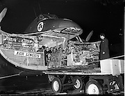10/01/1956<br /> 01/10/1956<br /> 10th January 1956<br /> Cigarette machine (for W. D.& H. O. Wills) being unloaded from Aer Lingus plane at Dublin Airport.