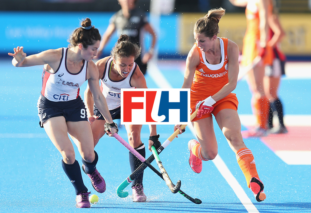 LONDON, ENGLAND - JUNE 21: Michelle Vitesse and Caitlin van Sickle of USA and Ellen Hoog of Netherlands during the FIH Women's Hockey Champions Trophy match between Netherlands and USA at Queen Elizabeth Olympic Park on June 21, 2016 in London, England.  (Photo by Alex Morton/Getty Images)