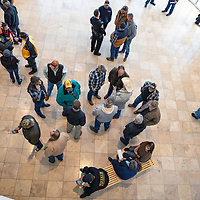 Gallup residents wait in the Rotunda for the vote on the councils stance for the new gun control legislation at the McKinley County Courthouse council chambers in Gallup Wednesday.