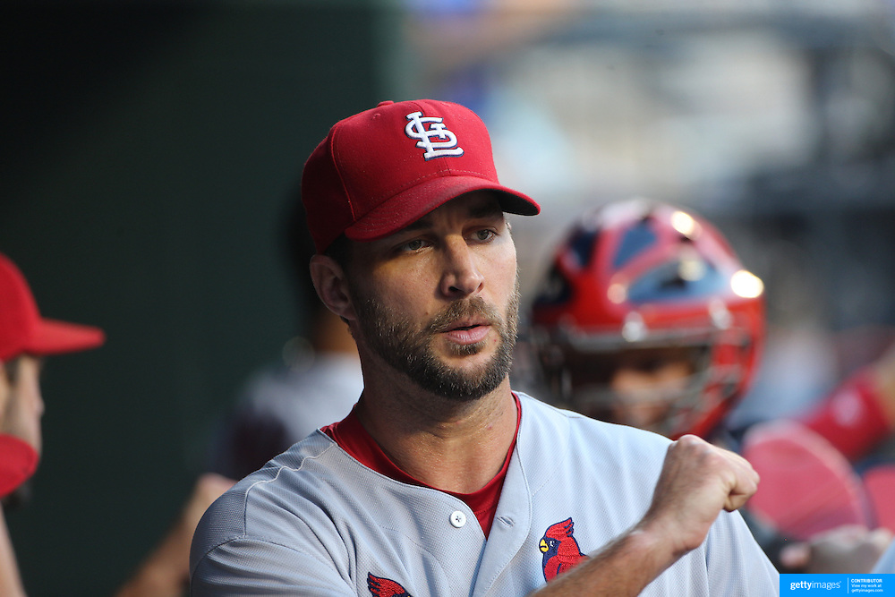 NEW YORK, NEW YORK - July 27: Pitcher Adam Wainwright #50 of the St. Louis Cardinals in the dugout during the St. Louis Cardinals Vs New York Mets regular season MLB game at Citi Field on July 27, 2016 in New York City. (Photo by Tim Clayton/Corbis via Getty Images)