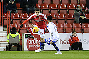 Swindon Town's Bradley Barry on the ball during the Sky Bet League 1 match between Swindon Town and Walsall at the County Ground, Swindon, England on 24 November 2015. Photo by Shane Healey.