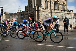 Katie Archibald (GBR) of Team WNT and Hannah Payton (GBR) of Drops Cycling Team ride past the Castle Hill Baptist Church in Warwick during Stage 3 of the OVO Energy Women's Tour - a 151 km road race, between Atherstone and Royal Leamington Spa on June 9, 2017, in Warwickshire, United Kingdom. (Photo by Balint Hamvas/Velofocus.com)