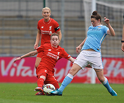 MANCHESTER, ENGLAND - Sunday, August 30, 2015: Liverpool's Hannah Dale and Manchester City's Natasha Flint during the League Cup Group 2 match at the Academy Stadium. (Pic by Paul Currie/Propaganda)
