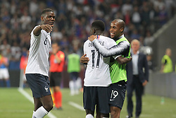 June 1, 2018 - Nice, France - Ousmane Dembl (France, center) celebrates after scoring with Paul Pogba (L) and Djibril Sidib (R) during the friendly football match between France and Italy at Allianz Riviera stadium on June 01, 2018 in Nice, France. (Credit Image: © Massimiliano Ferraro/NurPhoto via ZUMA Press)