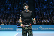Andy Murray (Great Britain) celebrates a point during the final of the Barclays ATP World Tour Finals at the O2 Arena, London, United Kingdom on 20 November 2016. Photo by Phil Duncan.